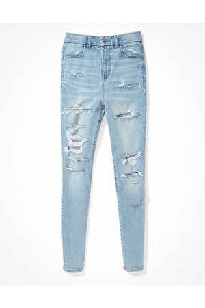 American Eagle Outfitters Next Level Ripped Curvy Super High-Waisted Jegging Women's 4 Regular