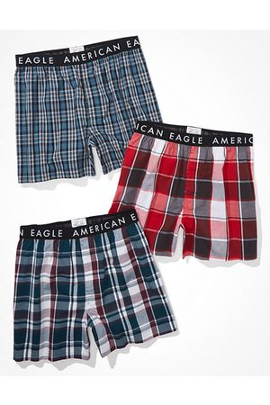 American Eagle Outfitters O Plaid Stretch Boxer Short 3-Pack Men's XS