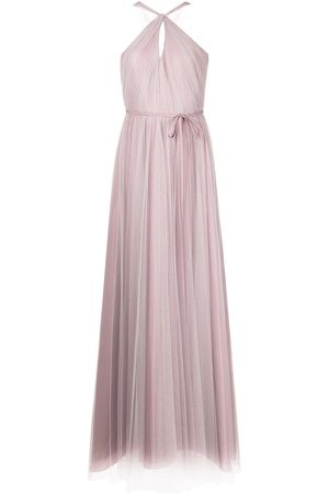 Marchesa Notte Gathered-tulle halter-neck gown