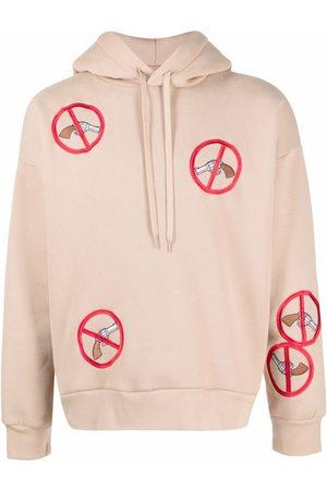DUOltd Men Hoodies - Embroidered-patch hoodie - Neutrals