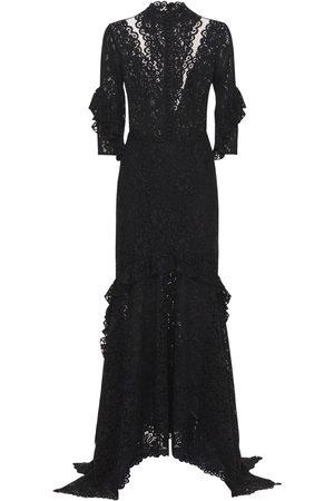 Costarellos Women Asymmetrical Dresses - Belted Asymmetric Lace Dress