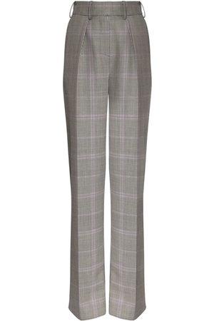 ALEXANDRE VAUTHIER Women Straight Leg Pants - Check Wool & Mohair Straight Leg Pants