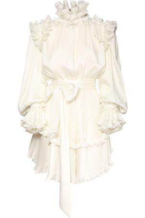 ALEXANDRE VAUTHIER Crepe Ruffled Mini Dress W/self-tie Belt