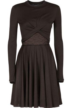 Giambattista Valli Wool Blend Jersey Mini Dress W/ Lace