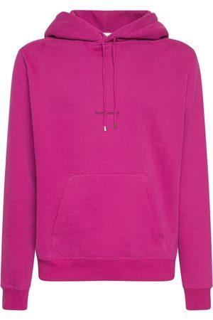 Saint Laurent Men Hoodies - Logo Cotton Sweatshirt Hoodie