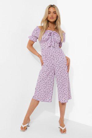 Boohoo Womens Floral Bardot Puff Sleeve Culotte Jumpsuit - - 4