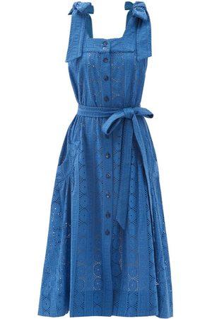 Evi Grintela Women Midi Dresses - Square-neck broderie-anglaise cotton midi dress