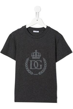 Dolce & Gabbana Boys Short Sleeve - Logo-print short-sleeved T-shirt - Grey