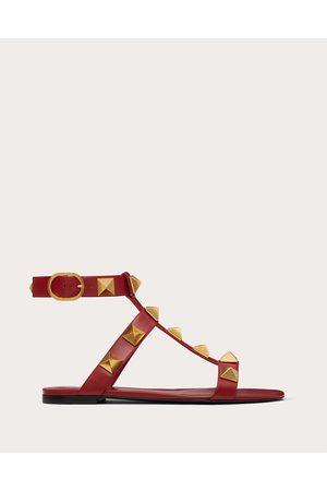 VALENTINO GARAVANI Women Sandals - Roman Stud Flat Calfskin Sandal Women Rosso Valentino 100% Pelle Di Vitello - Bos Taurus 36.5