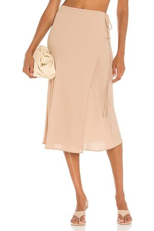 ATM Anthony Thomas Melillo Georgette Wrap Skirt in Tan.