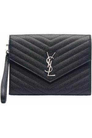 Saint Laurent Logo-plaque chevron-quilt clutch bag