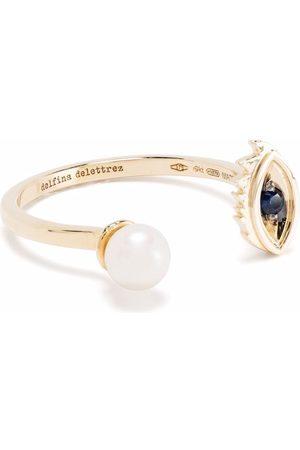DELFINA DELETTREZ 9kt yellow Micro-Eye Piercing sapphire and pearl ring