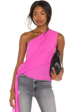 krisa One Shoulder Tie Top in Pink.