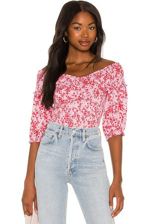 Steve Madden Abstract Ditsy Smocked Top in Pink,Red.