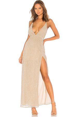 superdown Hailee High Slit Maxi Dress in Nude.