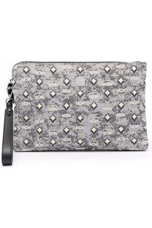 MCM Women Clutches - Visetos jacquard clutch bag - Grey
