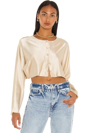 NONchalant Tiffany Cropped Blouse in Nude.