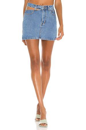 Bardot Cut Out Denim Skirt in Blue.