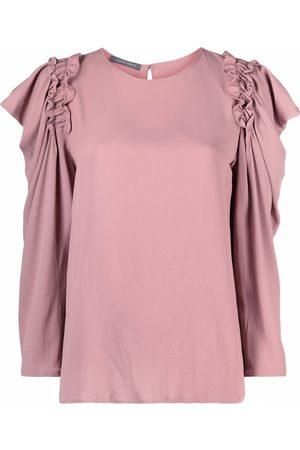 Alberta Ferretti Ruched long-sleeved blouse