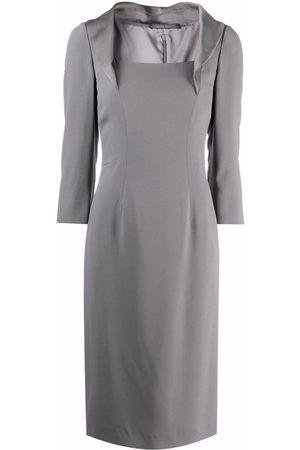 Alberta Ferretti Satin lapel dress - Grey