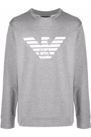 Emporio Armani Logo-print crew-neck sweatshirt - Grey