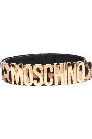 Moschino Logo-plaque leopard-print belt - Neutrals