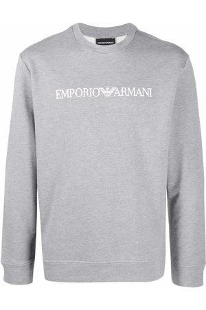 Emporio Armani Men Sweatshirts - Logo-print crew-neck swetashirt - Grey
