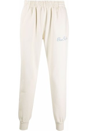 BLUE SKY INN Logo-embroidered cotton track pants - Neutrals