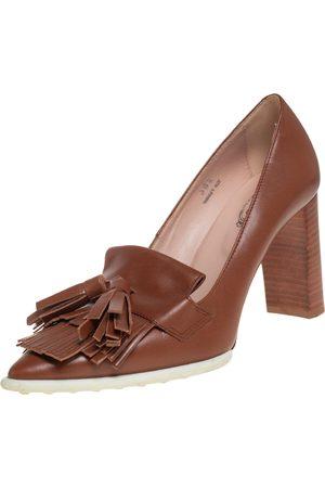 Tod's Leather Fringe and Tassel Platform Loafer Pumps Size 36.5