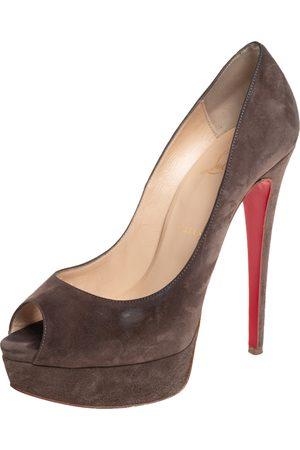 Christian Louboutin Suede Lady Peep Toe Platform Pumps Size 37.5