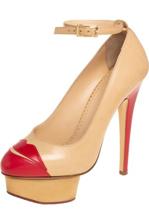 Charlotte Olympia /Red Leather Kiss Me Dolores Lips Appliquè Ankle Strap Platform Pumps Size 35.5