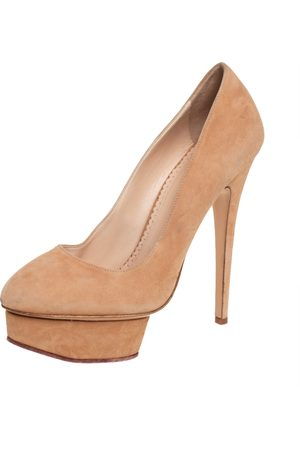 Charlotte Olympia Suede Dolly Platform Pump Size 40