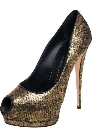 Giuseppe Zanotti Metallic Python Embossed Leather Peep Toe Platform Pumps Size 40