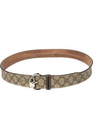 Gucci /Beige GG Supreme and Leather Trim Buckle Belt 95CM