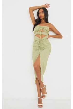 PRETTYLITTLETHING Textured Bandeau Cut Out Ruched Midi Dress