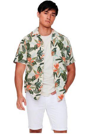 Only & Sons Klopp Life Aop Viscose Short Sleeve Shirt M Star White