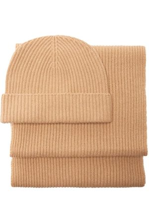 Johnstons Of Elgin Ribbed-cashmere Beanie And Scarf Set - Womens - Camel