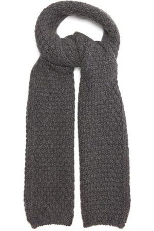 Johnstons Of Elgin Moss-stitch Cashmere Scarf - Womens - Dark Grey