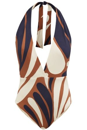 Cala De La Cruz Mara Abstract-print Halterneck Swimsuit - Womens - Multi