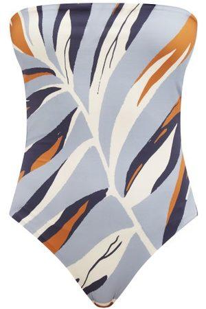 Cala De La Cruz Alison Strapless Foliage-print Swimsuit - Womens - Multi