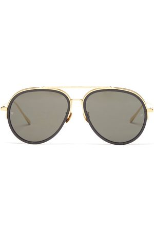 Linda Farrow Abel Acetate & Gold-plated Aviator Sunglasses - Womens