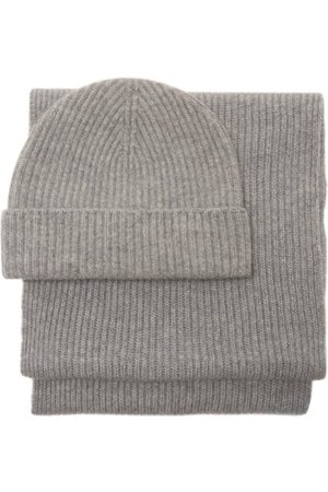 Johnstons Of Elgin Ribbed-cashmere Beanie And Scarf Set - Womens - Light Grey