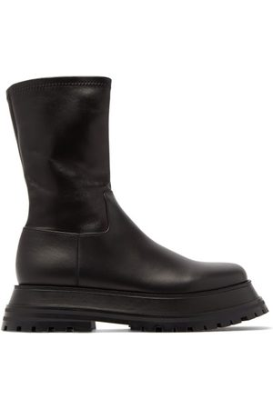 Burberry Hurr Flatform Tread-sole Leather Boots - Womens
