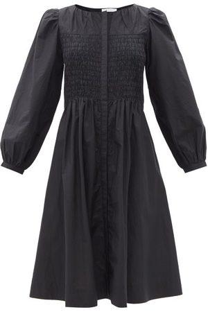 MERLETTE Women Midi Dresses - Leyland Shirred Cotton Midi Dress - Womens