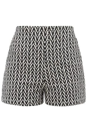 VALENTINO Optical-jacquard Cotton-blend Bouclé Shorts - Womens