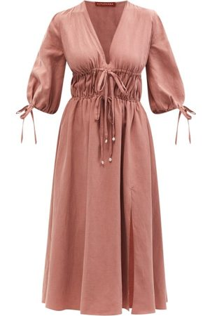 Altuzarra Donrine Drawstring-waist Twill Midi Dress - Womens - Light