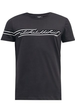 Balmain Flocked-logo Cotton-jersey T-shirt - Mens