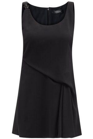 VERSACE Medusa-plaque Draped Crepe Mini Dress - Womens