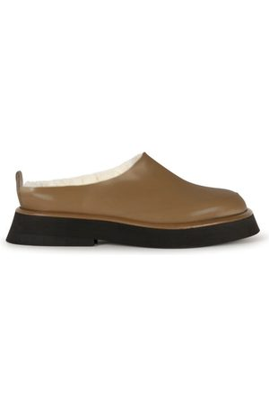 Wandler Rosa Shearling-lined Leather Backless Loafers - Womens - Dark