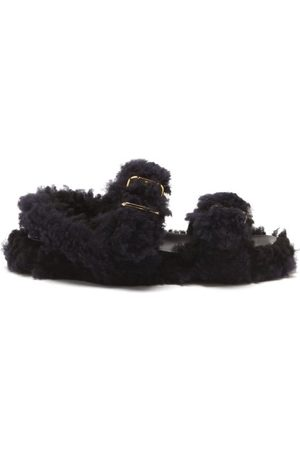 Marni Women Sandals - Shearling Leather Flatform Sandals - Womens - Multi